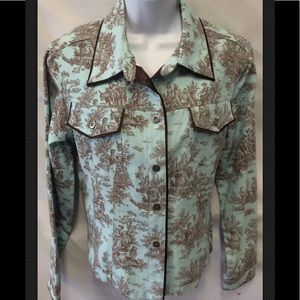 3 SISTERS Toile Blue Brown Western Boxy Snap Satin